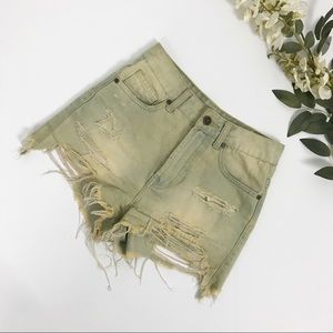 UNIF Urban Outfitters Distressed High Rise Shorts